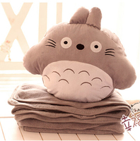 gift 1pc 100cm Miyazaki Hayao totoro soft coral velvet air conditioning baby blanket + cushion hand warm stuffed toy