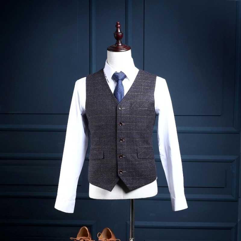 NA15カスタムメイド2ボタンスリムフィットフォーマル男性スーツビジネス摩耗ルマン結婚式スーツ(コート+パンツ+ベスト)チェック柄スーツ用男