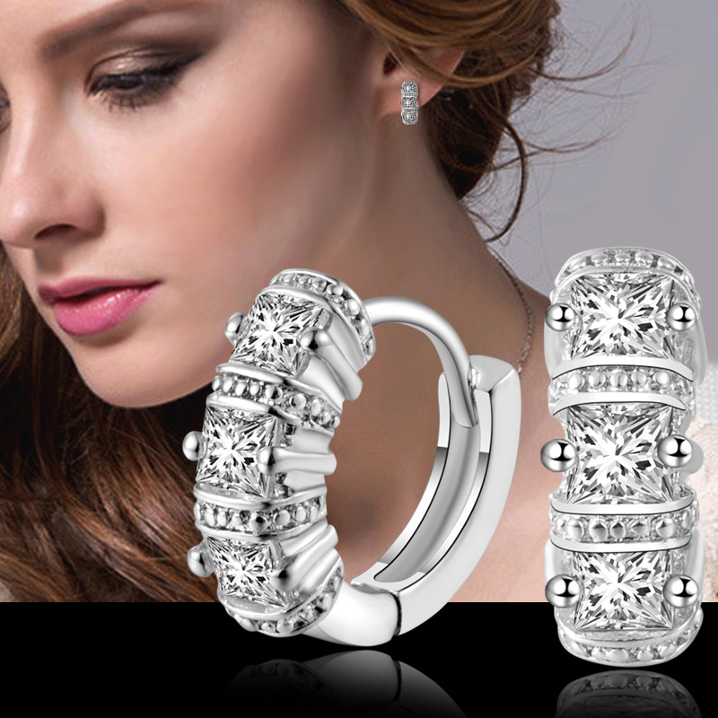 Fashion Romantic Cubic Zircon Design Top Quality 925 Sterling Sliver Earrings  Stud Earring For Women Wedding Mujer Gift