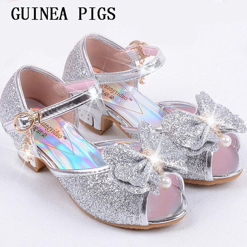 New Children Princess Pearl Beading Sandals Kids Flower Wedding Shoes High Heels Dress Shoes