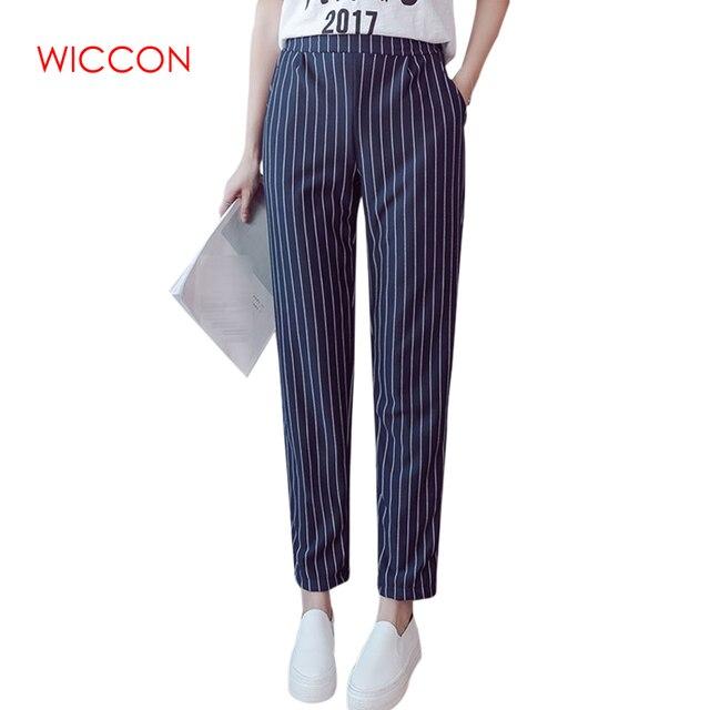 0a891d7d Женские брюки весна осень женские эластичные брюки женские с высокой талией  полоски повседневные женские брюки рабочая