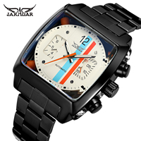 Fashion Jaragar Top Brand Square Dial Men's Day Month Automatic Mechanical Full Steel Watch Reloj Male Wristwatch Montre Homme