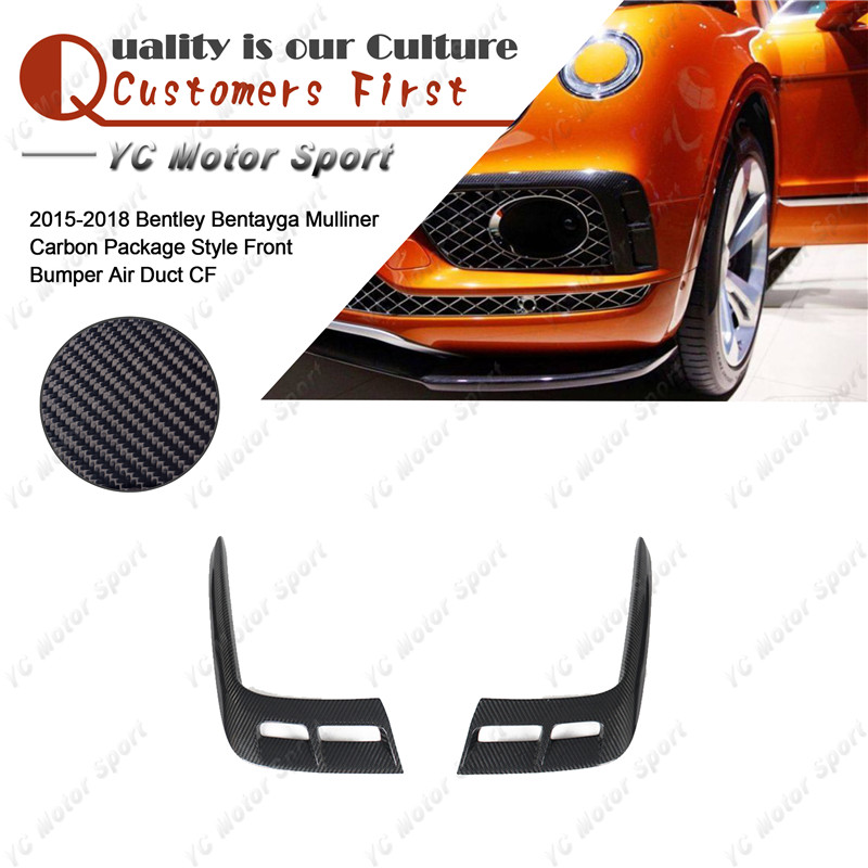 Carbon Fiber Front Bumper Air Duct Fit For 2015-2018 Bentley Bentayga Mulliner Carbon Package Style Front Intake Addon CoverCarbon Fiber Front Bumper Air Duct Fit For 2015-2018 Bentley Bentayga Mulliner Carbon Package Style Front Intake Addon Cover