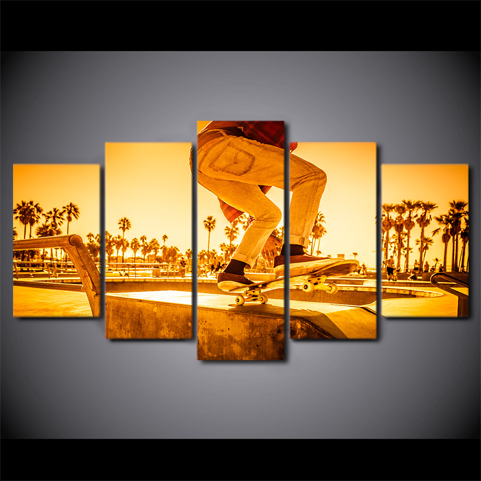 Modern Pictures Home Decor Wall Art Frame 5 Pieces Skateboard ...
