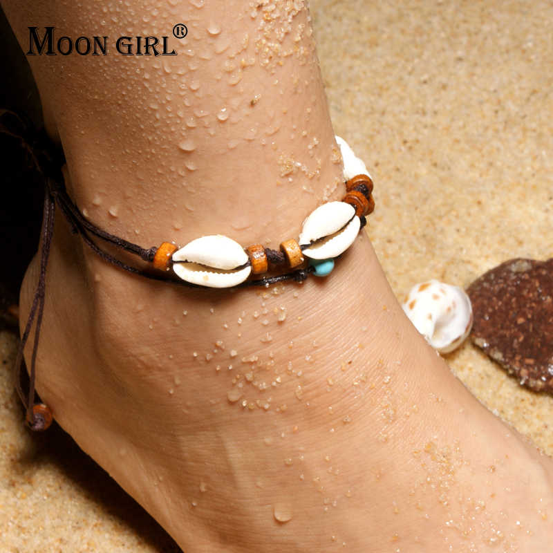 MOON GIRL Cowrie Leather Puka Shell Vintage Anklets Bracelets for Women Wood Beaded Yoga Charms Leg Anklet Girl Jewelry Dropship