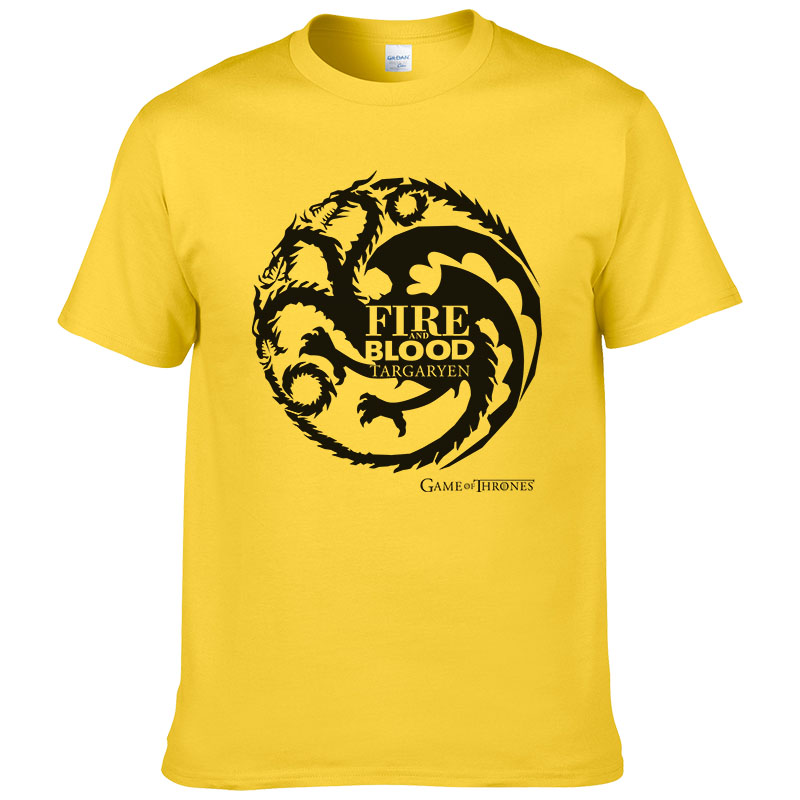 House Targaryen Dynasty Dragon   T  -  shirts   Men Cotton Short Sleeve Tshirts Game of Thrones Fashion   T     shirt   Casual Tees Tops #249