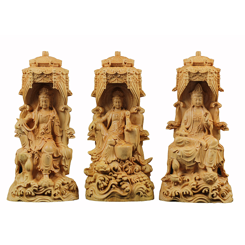 Delicate Western Three Buddhas Round sculptures wood statues well buda folk statue hand sculpture miniature tree home decors
