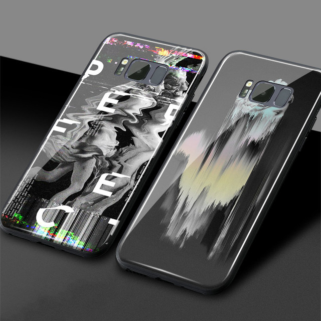 Aliexpress com : Buy Abstract Glitch Art psychedelic statue Tempered Glass  Soft Silicone Phone Case cover For Samsung Galaxy S8 S9 Plus Note 8 9 from