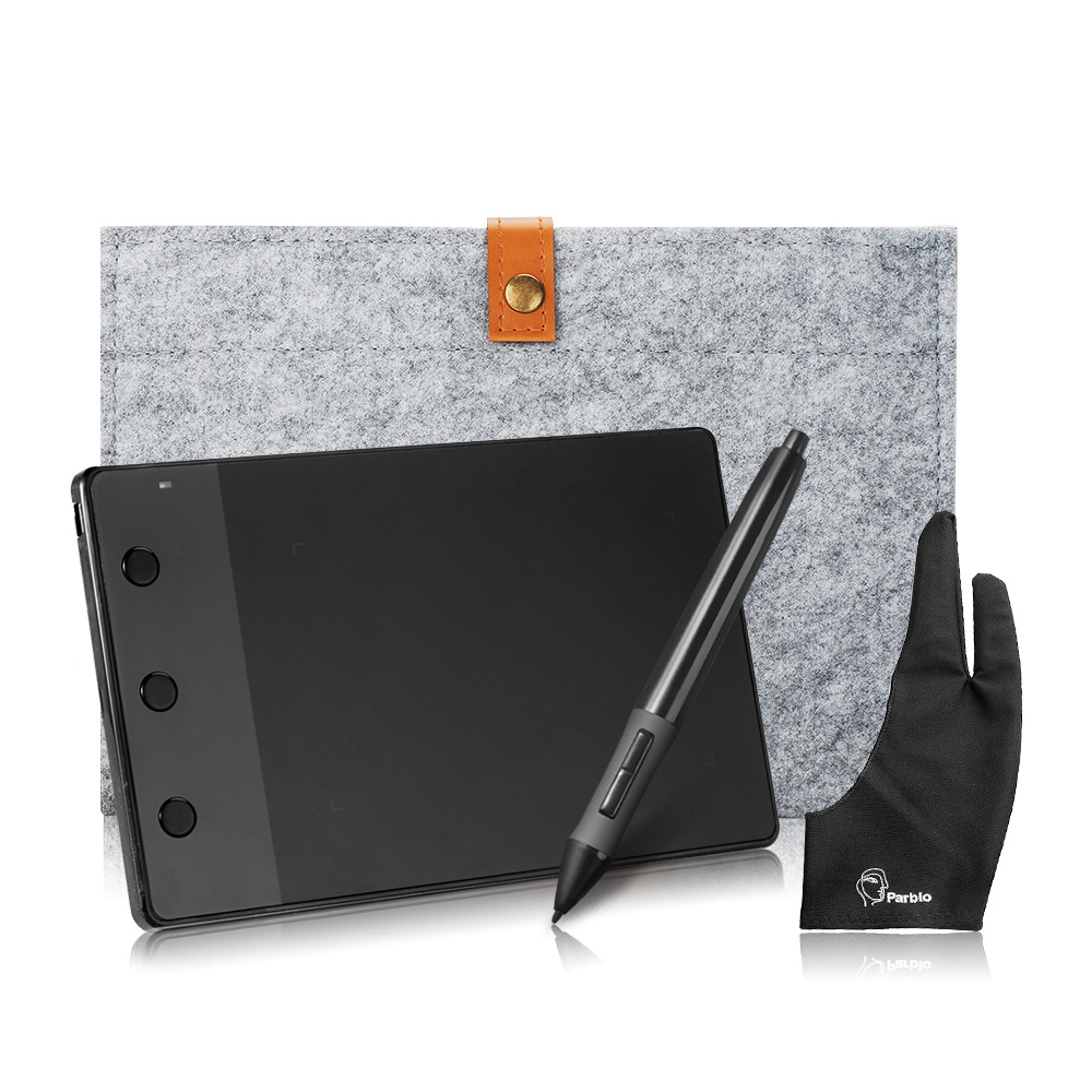 Huion H420 4 x 2.23 Signature Graphic Tablet + 10 Inches Wool Liner Bag + Two Fingers Anti-fouling Glove as Gift