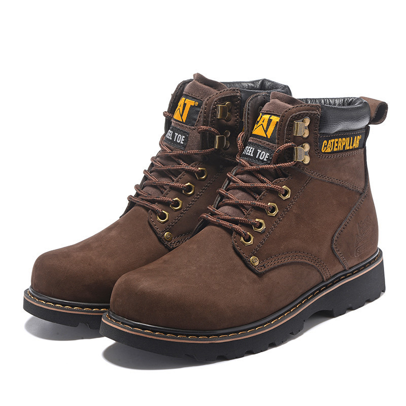 8d9546e61b CAT Footwear Men Classic Genuine Cow Leather Working Casual High Top Shoes  Male Ankle Winter Boots Man Steel Toe Coffee Shoe -in Basic Boots from Shoes  on ...