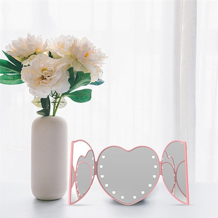 2019 New Folding Led Make-up Spiegel 1 Pc Tragbare 12 Leds Beleuchteten Bildschirm Make-up Kosmetische Eitelkeit Spiegel Tabletop Folding 0401 #30 Spiegel