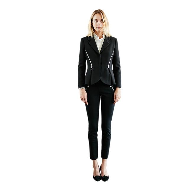 Black long sleeve zip decoration notched collar cropped blazers for women ladies formal OL peplum hem coats outwear for work 3