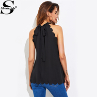 Sheinside Black Scallop Trim Self Tie Halter Blouse With Bow 2017 Ladies Sleeveless Plain Top Summer Work Wear Blouses
