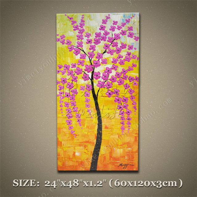 Vertical Unframed Abstract Textured Blossom Purple Flower Trees Oil ...