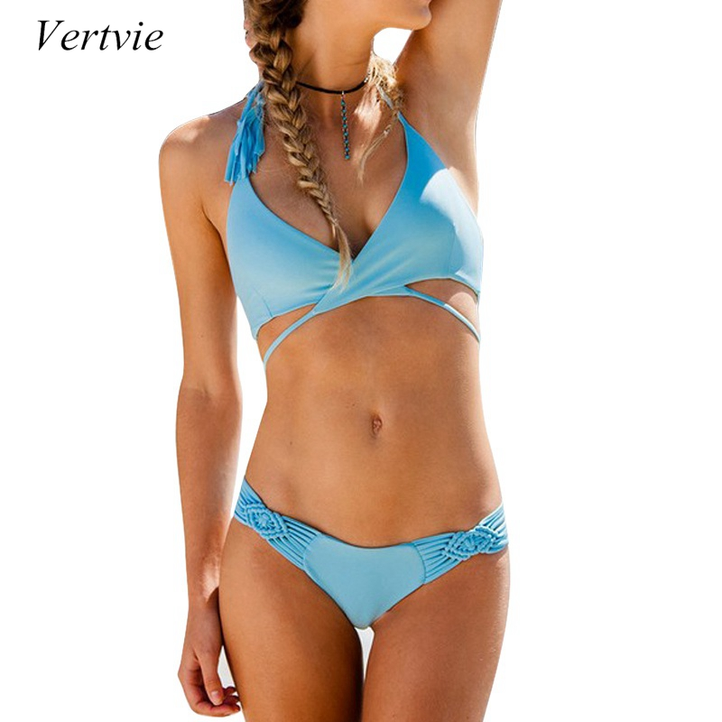 Vertvie 2017 Women New Bikini Set Braided Ropes Solid Two Pieces Swimwear Female Sexy Halter Bandage Swimsuit Beach Bathing Suit vertvie sexy solid bangdage bikini set green hollow out push up braided rope swimsuit women 2017 summer beach party bathing suit