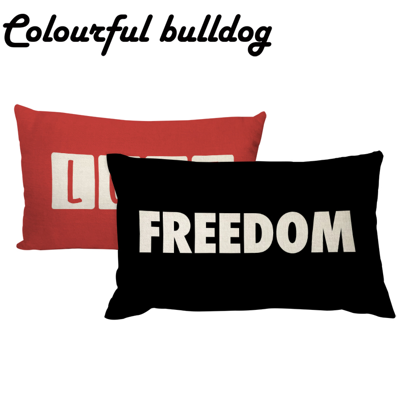 Fashion Cushion Cover Nordic Letter Red LOVE Black FREEDOM Lumbar Throw Pillow Case 30*50cm Rectangle Decorate Living Room Yard