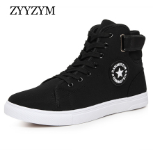 ZYYZYM Män Casual Shoes 2018 Vårhöst Hot Sale Lace Up High Style Fashion Ungdom För Män Canvas Canvas Stor Storlek