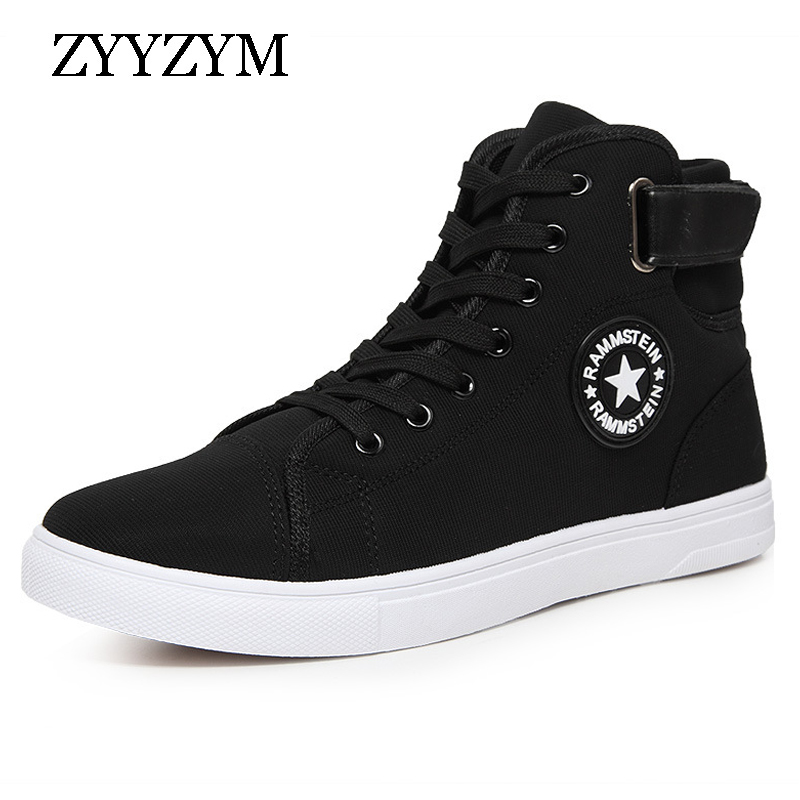 Excellent Quality Warm Winter Men Shoes High Top Canvas Casual Shoes Men Boots Autumn Leather Sneakers Metal Chain Male Flats Men's Shoes