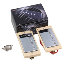 Yibuy Double Coil Humbucker Pickups Set Chrome Cover For Electric Guitar