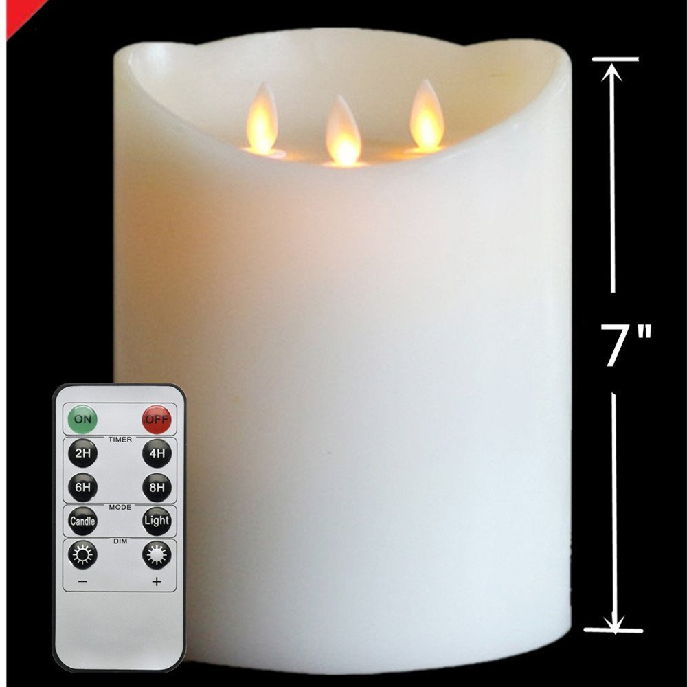 3 Wick Flameless Real Wax Pillar Led Candles Battery