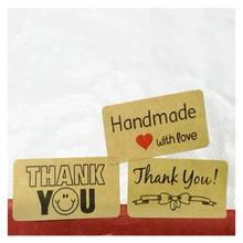 120Pcs Thank You sticker Label Sealing Tag Kraft Sticker DIY Work Gift Baking Square