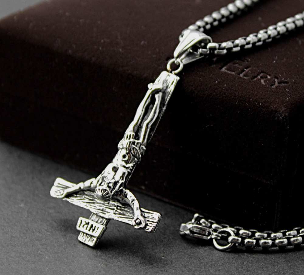 INVERTED JESUS CROSS PENDANT NECKLACE CHAIN GOTHIC 316L STAINLESS STEEL JEWELRY Pn298
