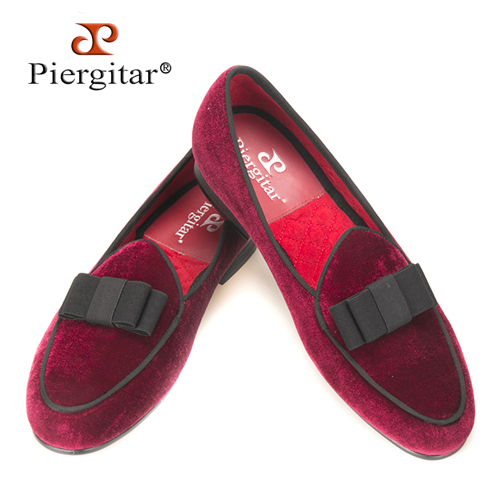 Piergitar new arrive Handmade Men velvet shoes with short Tongue and Bowtie Men party and wedding dress shoes Banquet loafers piergitar 2016 new india handmade luxurious embroidery men velvet shoes men dress shoes banquet and prom male plus size loafers