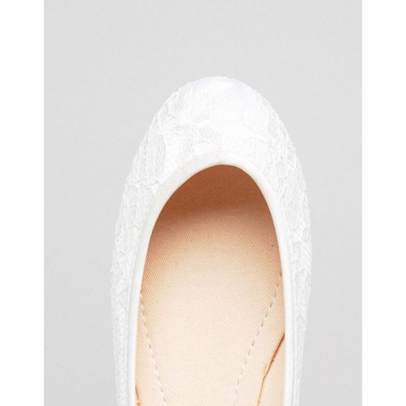 En Bout À Appartements Lacets Femmes Mariée Fsj Élégantes Mariage Attrayant De Blanc Sexy Fsj01 Incomparable Généreux Chaussures Rond Dentelle Xxdqgd