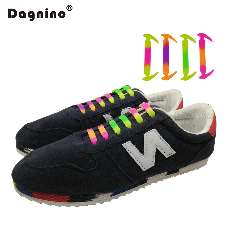 DAGNINO 4 Colorful Fashion Unisex  No Tie Shoelaces Women Men Athletic Running Elastic Silicone Shoe Lace All Sneakers Fit Strap