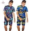 Costumbre tradicional africano clothing verano hombres de manga corta camisas de impresión de la moda de estilo africano cera tops mens clothing wyn96