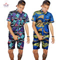 Custom Traditional African Clothing Summer Men Short Sleeve Shirts Print Fashion African Style Wax Tops Mens Clothing WYN96
