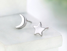 Ladies Tiny Cute Moon And Star Bijoux Stud Earrings For Women Silver Statement Earring Fashion Jewelry Female Ear Brincos