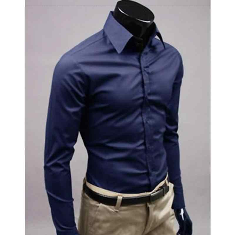 00a0cafbf63 2018 Men s Fashion Spring Summer Style Long Sleeve Shirt Pure Color Slim Fit  Man Dress Shirts