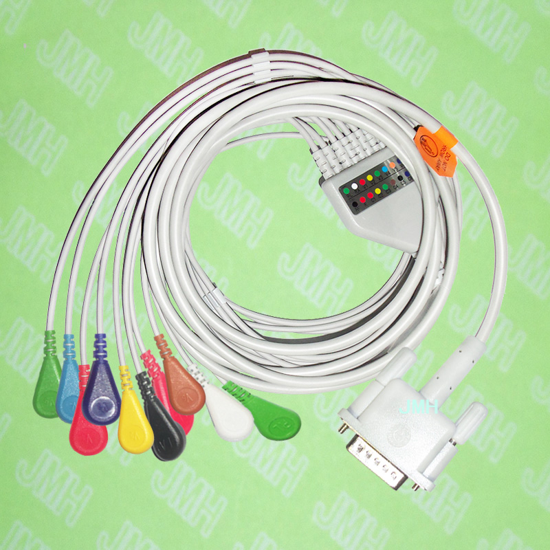 Use for 15 pin Philips(HP) M1772A,M3703C, M2462A EKG Machine the One-piece 10 leads ECG cable and Snap leadwires,IEC or AHA.