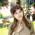 Women Autumn And Winter Printing Caps Casual Skullies & Beanies Warm Windproof Ear Hats Brown Black White Colors  WF011
