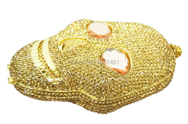 LaiSC Golden Evening Bag Holiday Party purse women handbag  devil Ladies crystal Diamond Silver Skull Clutch bag SC027 -B r b parker s the devil wins