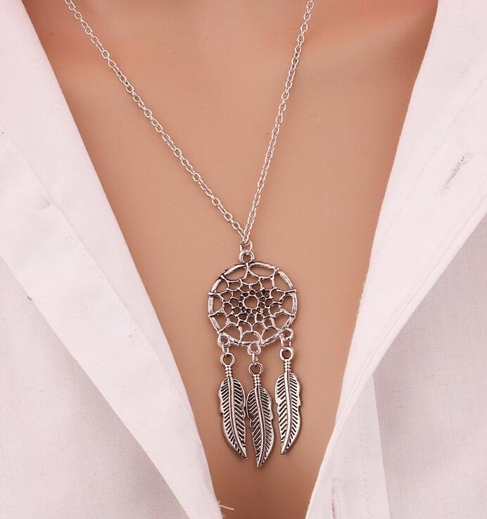 2016 Best Deal moda Retro mulheres borlas pingente pena colar de jóias Bohemia Dream Catcher pingente colar de corrente presente