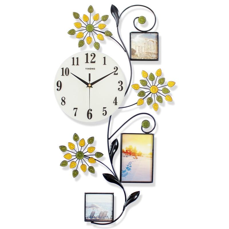 Silent Clock European Minimalist Creative Photo Frame Wrought Iron Wall Clock Modern Home Clock Fashion Decorative Quartz Clock