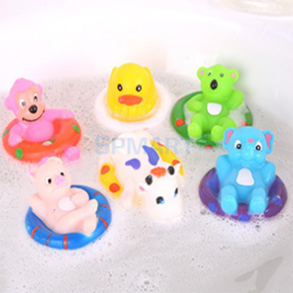 6pcs Random Soft Vinyl Realistic Cartoon Animals Model Squeaky Floating Pinching Sound Baby Kids Bath Water Pool Toy Play