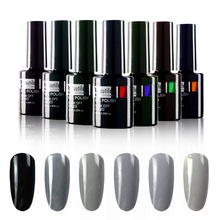 Harga Murah Gratis Pengiriman Gelap Abu-abu Hitam Gel Nail Polish 10 ml UV LED Nail Art Varnish