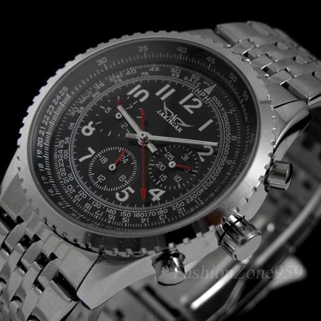 1a597330a57 Original JARAGAR Relógios Militares dos homens Automatic Self-vento de Aço  Cheio Relogio masculino De
