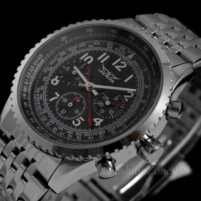 Original jaragar relógios masculinos militar aço completo automático auto vento relógio de pulso masculino mecânico de luxo