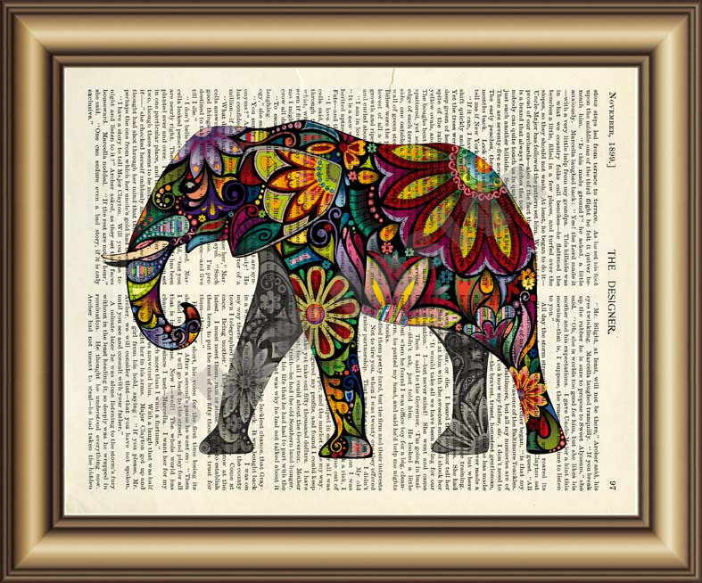 Pink Flowers Vintage Dictionary Print ELEPHANT ART PRINT