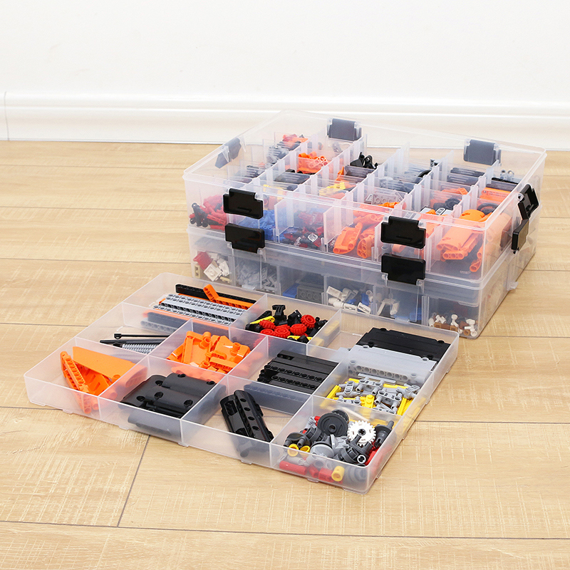 Multi layer layered Building Blocks Lego Toys Large Capacity Hand Kids Storage Case Clear Plastic Organizer Box Dispensing