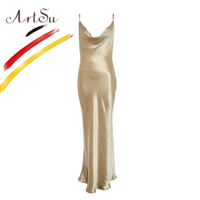 2f721aff3cf08 US $17.04 45% OFF|ArtSu Gold Color Sexy Satin Maxi Party Dress Bodycon  Women Sleeveless Wrap Mermaid Robe Longue Femme Fashion Backless Club  Wear-in ...