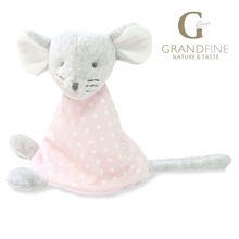 Fast supplier 15cm 100% hand-made pink mouse baby doll,cotton linen Eco material ,plush toys for birthday party gift
