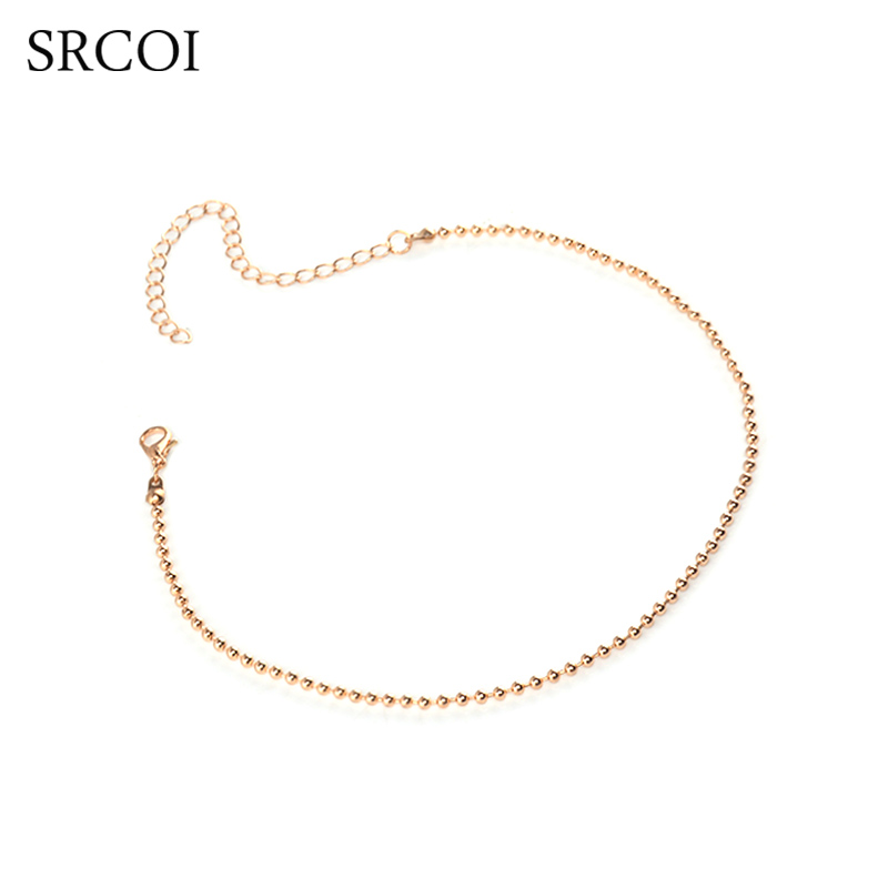 SRCOI Dainty Round Ball Link Bead Chain Necklace Silver Gold Color Chain Chokers On The Neck For DIY Women's Chain Jewelry 2017