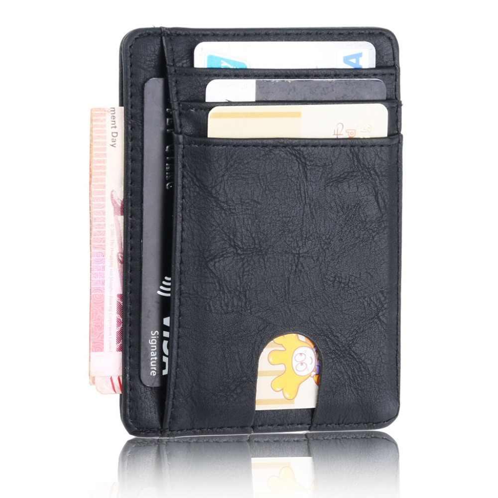 THINKTHENDO Dünne RFID Blocking Leder Brieftasche Kredit ID Karte Halter Geldbörse Geld Fall für Männer Frauen 2020 Mode Tasche 11,5 x8x 0,5 cm