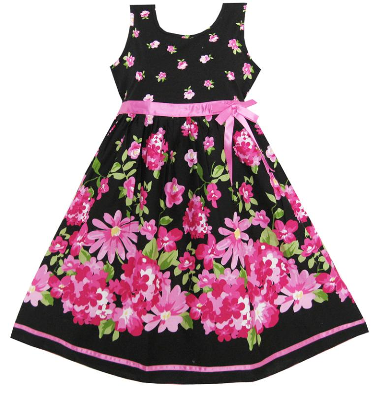 Sunny Fashion Girls Dress Hot Pink Flower Belt Party Christmas summer kids children clothes girl Princess dresses Size 4-12