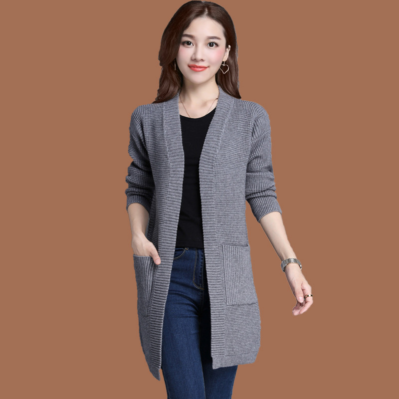 Plus Size 4XL 5XL Cardigan Knitted Sweater Women Autumn Winter Jacket Thick Jumper Pockets Women Basic Coats Long Cardigan C3417